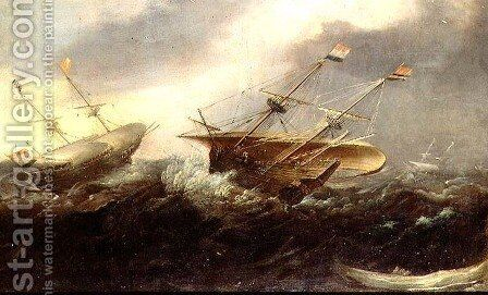 Dutch men-of-war in a gale by Hans I Savery - Reproduction Oil Painting
