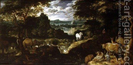 Orpheus Charming the Animals, 1601 by Jacob I Savery - Reproduction Oil Painting