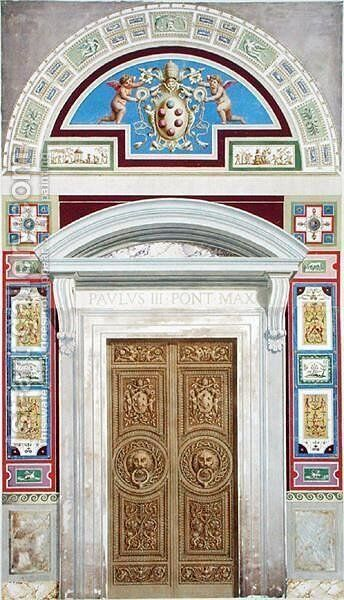 Doorway to the Raphael Loggia at the Vatican, from Delle Loggie di Rafaele nel Vaticano, engraved by Giovanni Ottaviani c.1735-1808, published c.1772-77 2 by (after) Savorelli, G. and Camporesi, P. - Reproduction Oil Painting