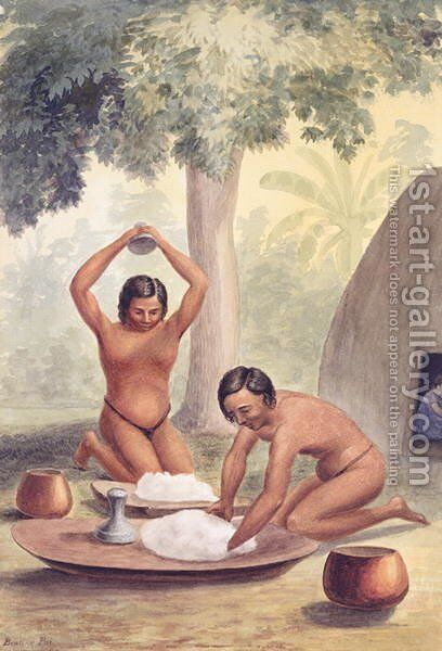Making poi from kalo, Sandwich Islands, 1852 by James Gay Sawkins - Reproduction Oil Painting