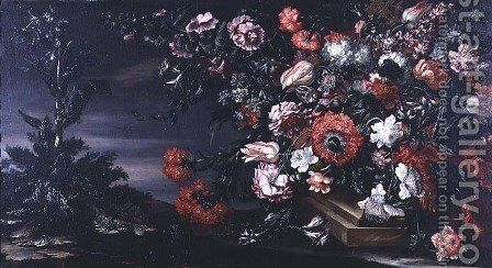 Still Life of Flowers in a Stone Vase by Andrea Scacciati - Reproduction Oil Painting