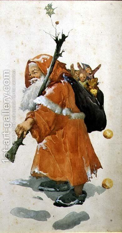 Father Christmas by Edith Scannell - Reproduction Oil Painting