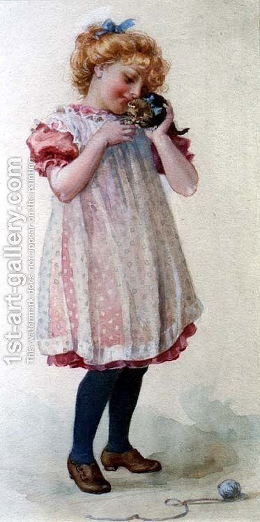 Little Girl with a Kitten by Edith Scannell - Reproduction Oil Painting