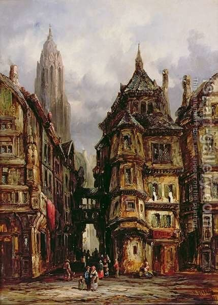A View in the Jewish Quarter, Frankfurt, 1877 by Henry Thomas Schafer - Reproduction Oil Painting