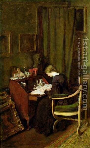 At Her Desk by Henry Thomas Schafer - Reproduction Oil Painting