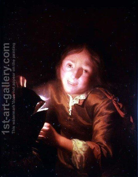 A Young Boy Holding a Candle Behind a Halloween Mask by Godfried Schalcken - Reproduction Oil Painting