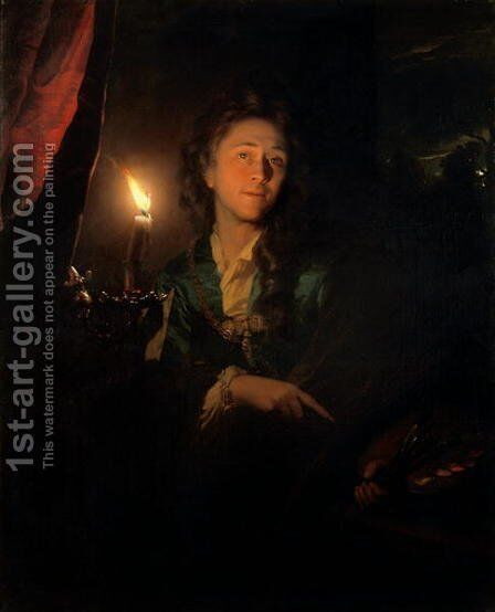 Self Portrait by Candlelight by Godfried Schalcken - Reproduction Oil Painting