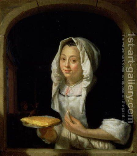 Portrait of a maid holding a waffle by Godfried Schalcken - Reproduction Oil Painting