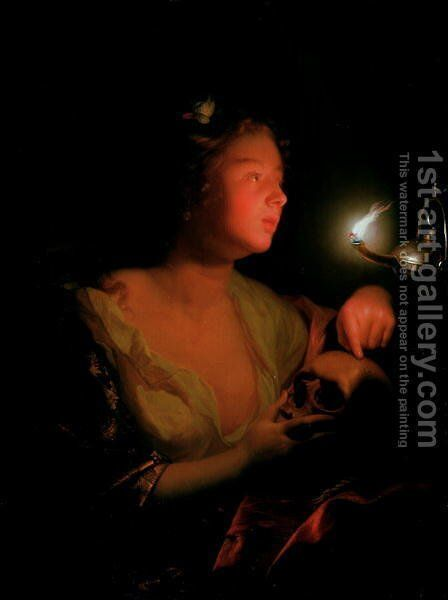 Mary Magdalene Grieving by Godfried Schalcken - Reproduction Oil Painting