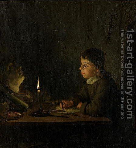Boy Drawing by Candlelight by Godfried Schalcken - Reproduction Oil Painting