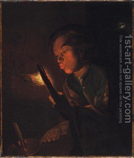 A Boy Blowing on an Ember, 1690s by Godfried Schalcken - Reproduction Oil Painting