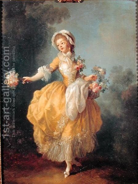 Dancer with a Bouquet by Jean-Frederic Schall - Reproduction Oil Painting