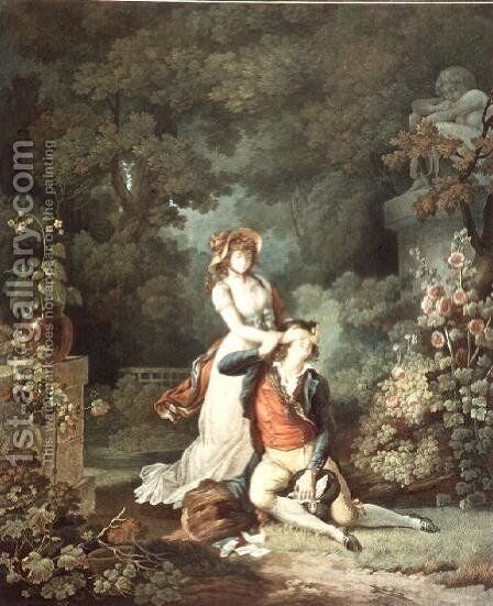 The Lover Surprised, engraved by Charles Melchior Descourtis 1753-1820 by Jean-Frederic Schall - Reproduction Oil Painting