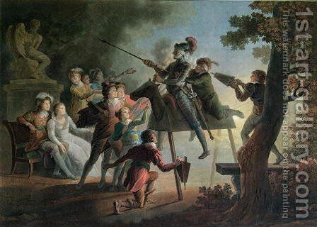 Don Quixote and Sancho Panza on a Wooden Horse by Jean-Frederic Schall - Reproduction Oil Painting