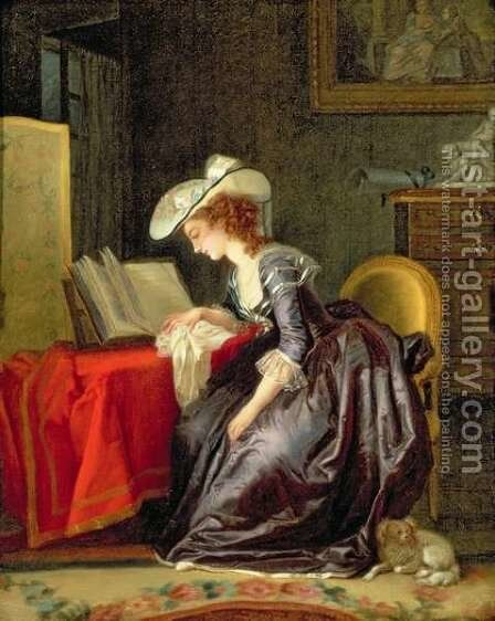 Woman Reading a Book by Jean-Frederic Schall - Reproduction Oil Painting