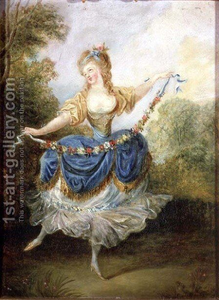 Dancer with a Garland by Jean-Frederic Schall - Reproduction Oil Painting