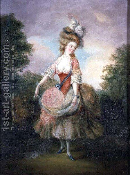 Dancer with a Feather Hat by Jean-Frederic Schall - Reproduction Oil Painting