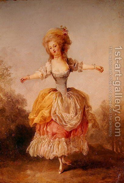 Dancer in Louis XVI costume by Jean-Frederic Schall - Reproduction Oil Painting