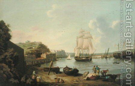 Ship under Sail in the Harbour at Port Mahon, Minorca by Anton Schantz - Reproduction Oil Painting