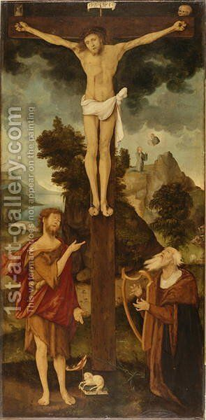 Christ on the Cross with John the Baptist and King David, 1508 by Hans Leonhard Schaufelein - Reproduction Oil Painting