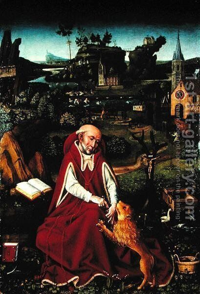 St. Jerome and the Lion by Hans Leonhard Schaufelein - Reproduction Oil Painting
