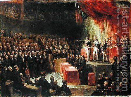 Study for King Louis-Philippe 1773-1850 Swearing his Oath to the Chamber of Deputies, 9th August 1830 by Ary Scheffer - Reproduction Oil Painting