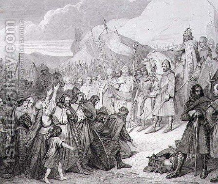 Charlemagne receives the Surrender of Witikind sic at Paderborn in 785, engraved by Joubert by Ary Scheffer - Reproduction Oil Painting
