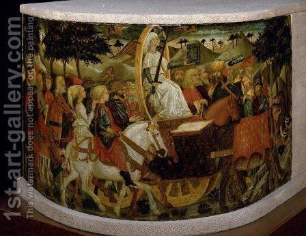 Triumph of Fame, inspired by Triumphs by Petrarch 1304-74 by Giovanni di ser Giovanni Guidi (see Scheggia) - Reproduction Oil Painting