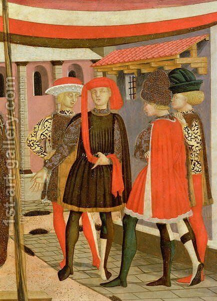 Frontal from the Adimari Cassone, detail of four men, c.1450 by Giovanni di ser Giovanni Guidi (see Scheggia) - Reproduction Oil Painting