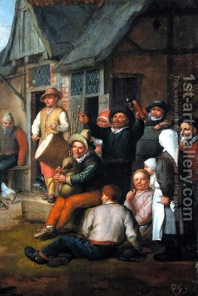 Detail from The Peasants Dance, 1678 by Matthias Scheits - Reproduction Oil Painting