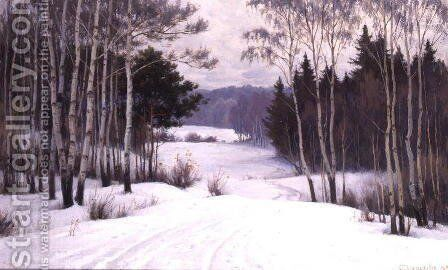 Woodland Trail in Winter by Boris Walentinowitsch Scherkow - Reproduction Oil Painting