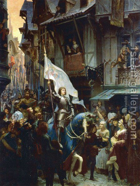 The Entrance of Joan of Arc 1412-31 into Orleans on 8th May 1429 by Jean-Jacques Scherrer - Reproduction Oil Painting