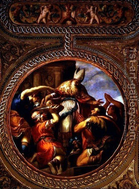 Allegory of the Priesthood, from the ceiling of the library, 1556 by Andrea Schiavone - Reproduction Oil Painting