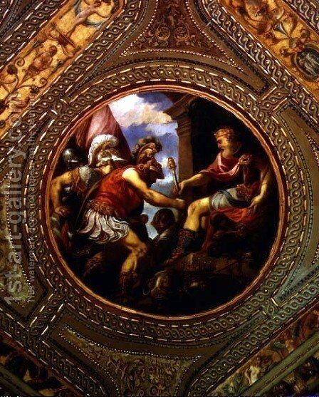 Allegory of the Empire, from the ceiling of the library, 1556 by Andrea Schiavone - Reproduction Oil Painting