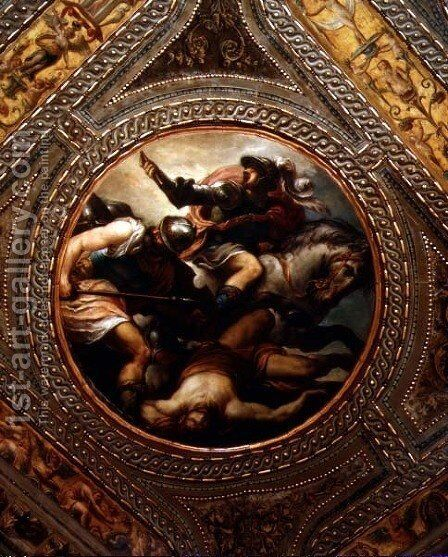 The Force of Arms, from the ceiling of the library, 1556 by Andrea Schiavone - Reproduction Oil Painting