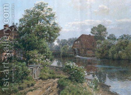 Autumn Landscape, c.1900 by Carl Christian Schirm - Reproduction Oil Painting