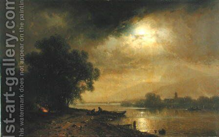 Moonlight by August Schliecker - Reproduction Oil Painting