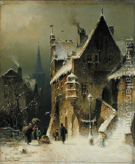 A Small Town in the Rhine by August Schliecker - Reproduction Oil Painting