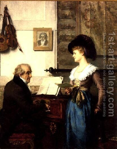 The Duet by Carl Schlosser - Reproduction Oil Painting
