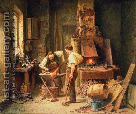 The Forge, 1836 by Arthur Schmidt - Reproduction Oil Painting