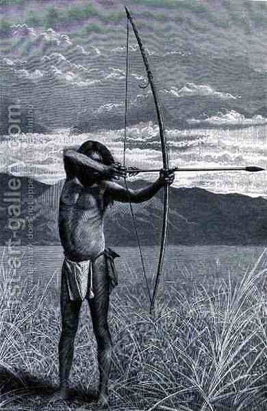 A Veddah of Ceylon shooting with the bow, from The History of Mankind, Vol.III, by Prof. Friedrich Ratzel, 1898 by (after) Schmidt, Emil - Reproduction Oil Painting