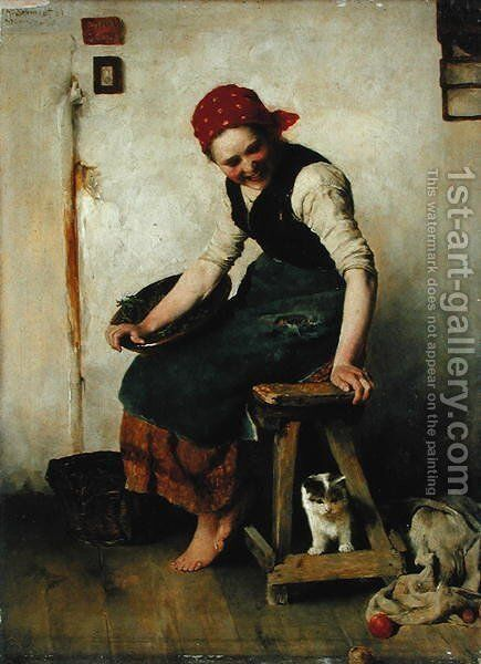 Young Girl with a Cat, 1884 by Theodor Schmidt - Reproduction Oil Painting