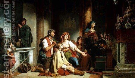 The Prayer to the Madonna, 1831 by Jean-Victor Schnetz - Reproduction Oil Painting
