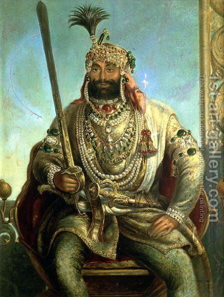 Portrait of Maharaja Sher Singh, In Regal Dress, c.1850 by August Theodor Schoefft - Reproduction Oil Painting
