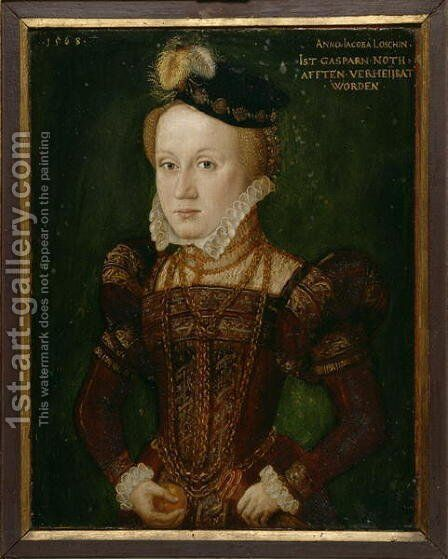 Portrait of Anna Jacoba Loesch, married to Nothafft, 1568 by Hans, the Younger Schoepfer or Schopfer - Reproduction Oil Painting