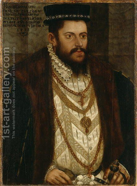 Portrait of Hans Caspar von Pienzenau, 1558 by Hans, the Younger Schoepfer or Schopfer - Reproduction Oil Painting