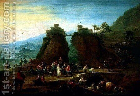 Figures and cattle by Mathys Schoevaerdts - Reproduction Oil Painting