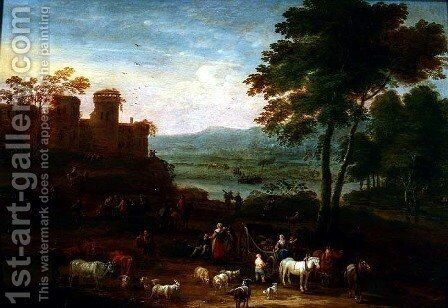 Landscape with Travellers in the Foreground by Mathys Schoevaerdts - Reproduction Oil Painting