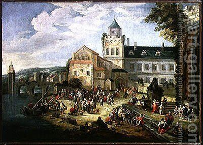 Market on the Banks of a River by Mathys Schoevaerdts - Reproduction Oil Painting