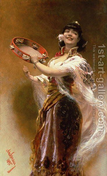 Gypsy Girl with a Tambourine by Alois Hans Schram - Reproduction Oil Painting